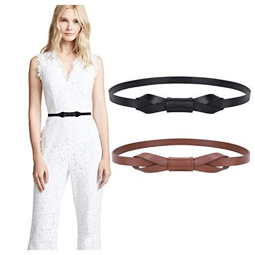 JASGOOD Women PU Leather Skinny Belt for Dress Adjustable Thin Waist Belt for Lady, Suit for Waist Size 26-31 Inches, E-Black+Coffee (Belt Waist Skinny)