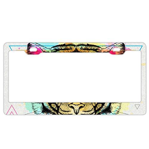 (PANGERA Alumina License Plate Tiger On Artistic Polygon- License Plate, Front License Plate, Vanity Tag)