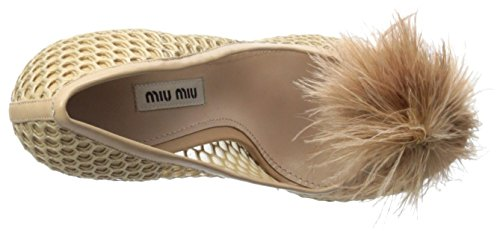 Miu Womens Open Teen Pom Pom Pump Nudo