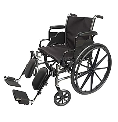 Med-Elite Deluxe Wheelchair - Elevating Leg Rests - Desk-Length Arm Rests - Padded Nylon Seat