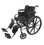 Med-Elite Deluxe Wheelchair - Elevating Leg Rests - Desk-Length Arm Rests - Padded Nylon Seat (16' Seat)