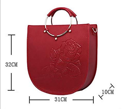 Impresión Mano Pu Crossbody Bolsa Rosa Ajustable Desmontable Cuero De Bolso Mujer Hombro Correa Metal Retro Pink Yyddt qTHwxfI1O