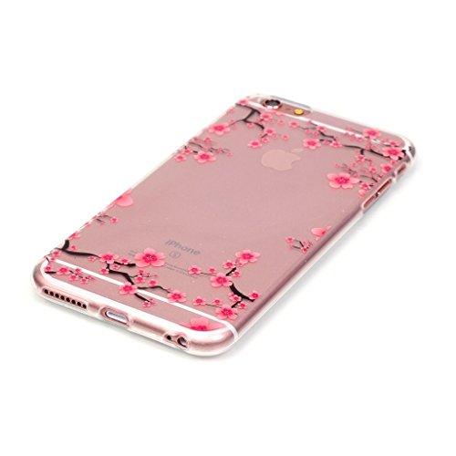 Custodia iPhone 6 Plus / 6S Plus , LH Fiore Plum Trasparente Silicone Morbido TPU Case Cover Custodie per Apple iPhone 6 Plus / 6S Plus 5.5