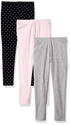 (Amazon Essentials Little Girls' 3-Pack Leggings, Simple Dot Navy, Pink, Heather  S)