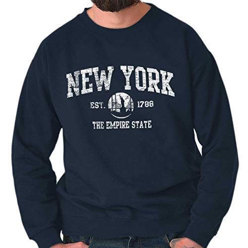 New York State Vintage EST Retro Hometown Fleece Sweatshirt Navy