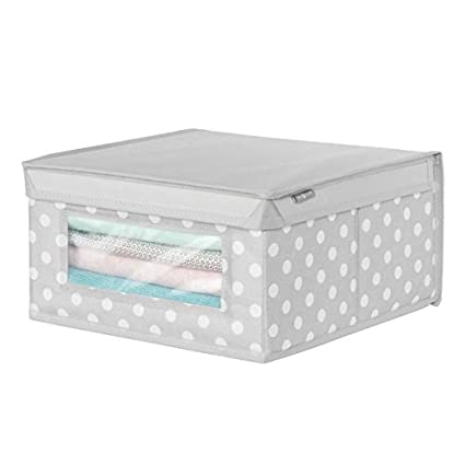 mDesign Caja con tapa mediana con estampado de puntos – Cajas apilables para guardar ropa o