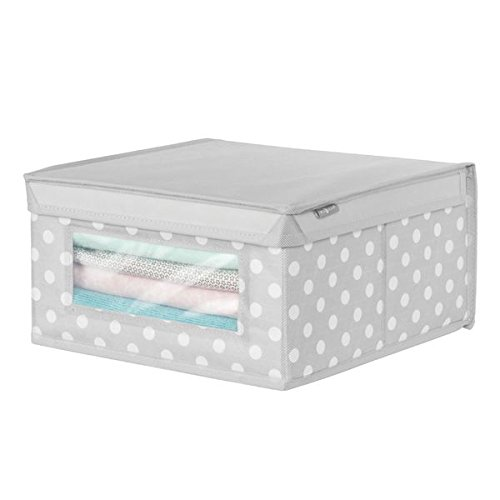 (mDesign Soft Stackable Fabric Closet Storage Organizer Holder Box - Clear Window, Attached Hinged Lid, for Child/Baby Room, Nursery - Polka Dot Pattern - Medium, Light Gray with White Dots)