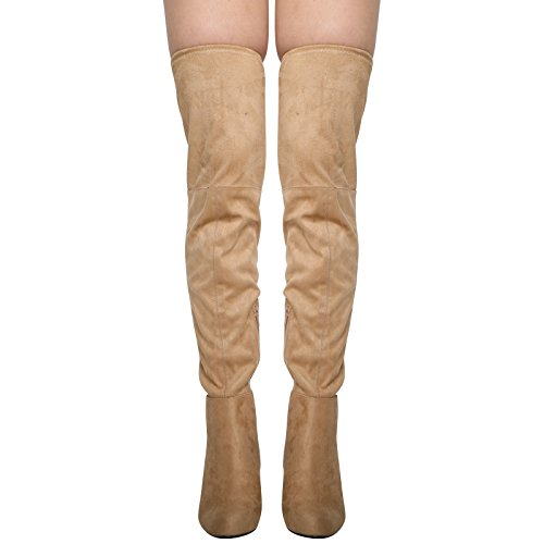 CORE COLLECTION New Womens Ladies Block HIGH Heel Zip Over The Knee Thigh Stretch Boot Shoes Size 3-8 Mushroom kRoZr0tCvA