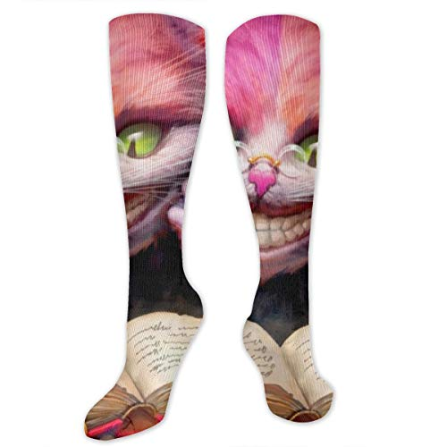 Unisex Long Socks Cheshire Cat Reading A Book Knitting Knee High Athletic Tube Stockings Fashion Style
