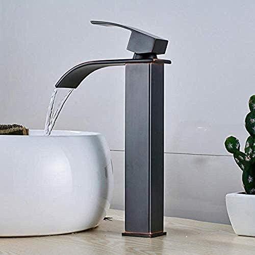 CHENBIN-BB 現代のソリッドBrasstapクロム浴室のミキサーの蛇口のデッキの取付け真鍮流域の蛇口の滝の洗面所のシンクミキサータップデッキホット冷たい水をタップして、取り付けられたタップ