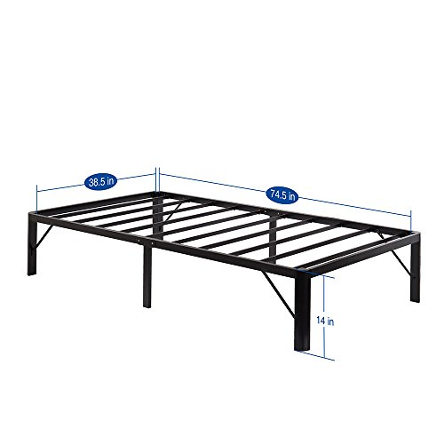 PrimaSleep 14 Inch Tall PT-2000 Simple and Sturdy Steel Slat Round Edge Metal Bed Frame (TWIN, BLACK)