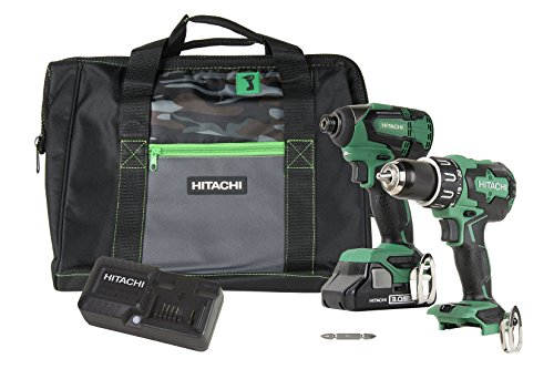 Hitachi KC18DBFL2S 18V Cordless Brushless Lithium Ion Hammer Drill & Impact Driver Combo Kit