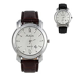 ZA Fashionable Men's 40mm Round Dial Waterproof White Pointer Leather Watchband Wrist Watches (1Pc)(Delivery color random)