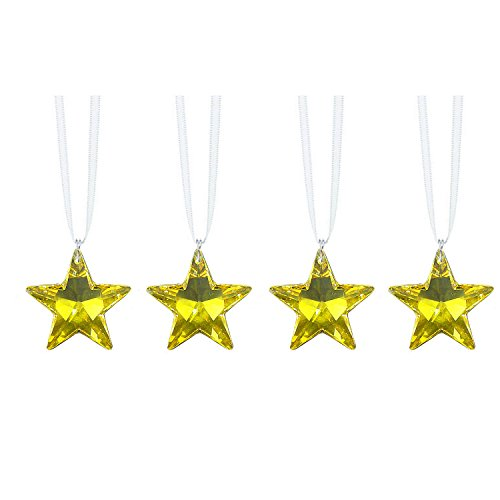 (Swarovski Strass Prisms 4 Pcs Crystal Light Topaz Star Crystal SunCatcher Ornaments Package Deal)