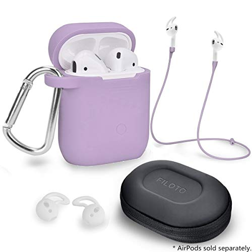 Airpods Accessories Set, Filoto Airpods Waterproof Silicone Case Cover with Keychain/Strap/Earhooks/Accessories Storage Travel Box for Apple Airpod (Purple)