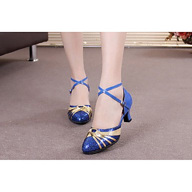 zapatos Heighted plata con salón Zapatos zapatos de tacón sandalias 5cm baile de Mujer Red Adultsof Zapatos moderno latino señoras Baile y de 5 inferior de azul wRq78xq0g