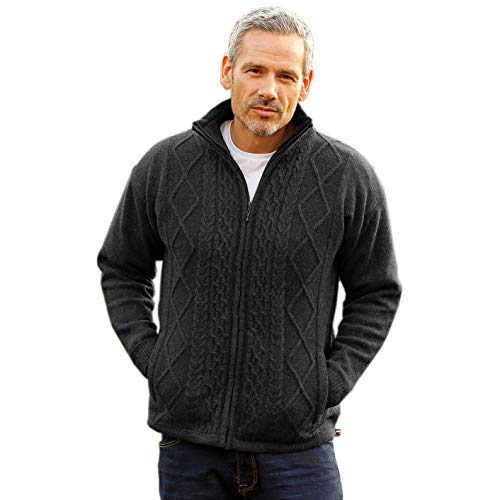 Men's Irish Wool Sweater, Full Zip, Front Pockets, Lined Interior, Gray, Large