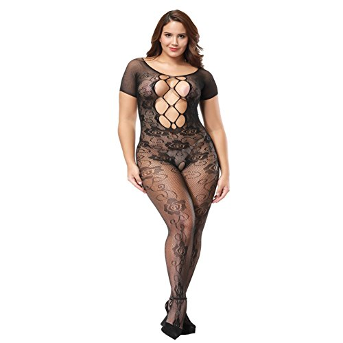 Deksias Plus Size Crotchless Bodystocking Sexy Lace Strappy Teddy Lingerie (1) by Deksias