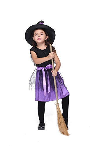 Oops Style Kids Dress Up Witch Costume Halloween Cosplay Party Fairy Dress L Purple 115cm-125cm