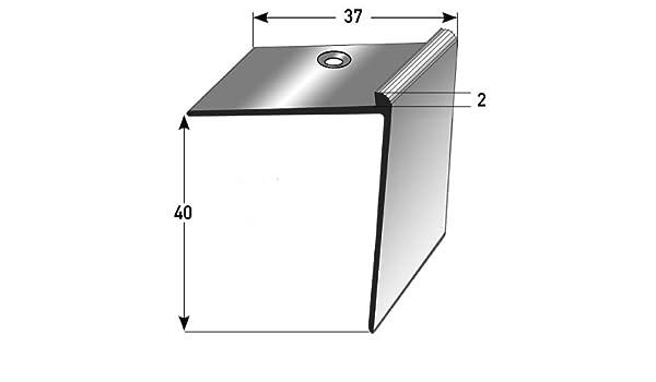 5 metros (5 x 1 m) - Perfil de escalera / Perfil angular (40 x 37 x 2 mm) aluminio anodizado, perforado, bronce oscuro: Amazon.es: Hogar