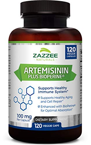 Zazzee Artemisinin, 100 mg per Capsule, 120 Veggie Capsules, 4 Month Supply, Plus 5 mg BioPerine for Enhanced Absorption, Sweet Wormwood Extract, Vegan and Non-GMO