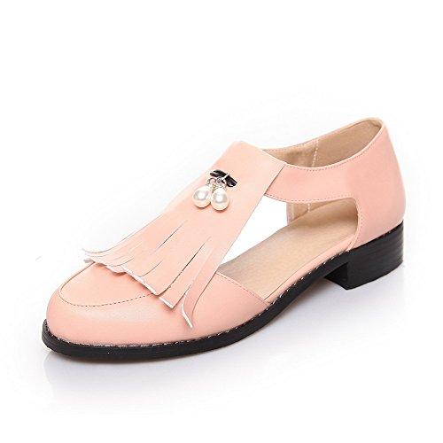 Amoonyfashion Donna Punta Chiusa Tacco Basso Materiale Solido Sandali Pull-on Rosa