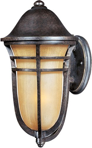 - Maxim 40103MCAT Westport VX 1-Light Outdoor Wall Lantern, Artesian Bronze Finish, Mocha Cloud Glass, MB Incandescent Incandescent Bulb , 40W Max., Damp Safety Rating, 2900K Color Temp, Standard Dimmable, Glass Shade Material, 5200 Rated Lumens