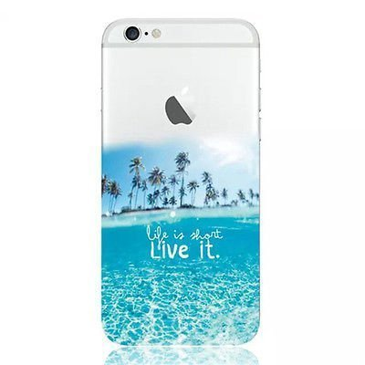 iPhone 7 Case, Transluscent Ultra Slim Rubber Silicone TPU Back Cover for Apple ( Life is Short Live it Motivation Quote Summer Ocean Beach Sea )