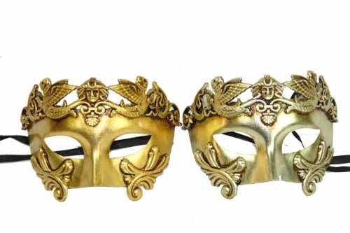 New Classic Vintage Ancient Roman Crown Inspired Masks Design Laser Cut Masquerade Mask for Mardi Gras Events or Halloween - 2pc Gold & Silver by ClassicVenetian ()
