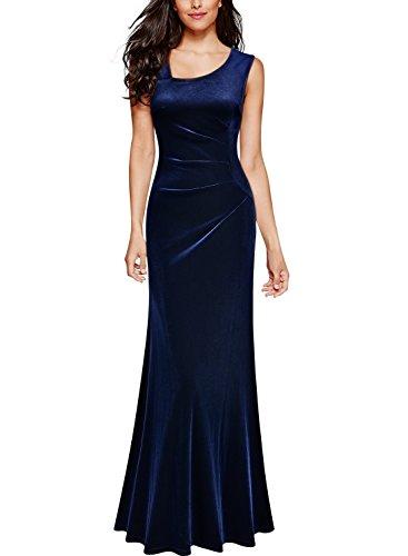 Miusol Women's Sexy V Neck Sleeveless Pleuche Ruffles Formal Evening Maxi Dress