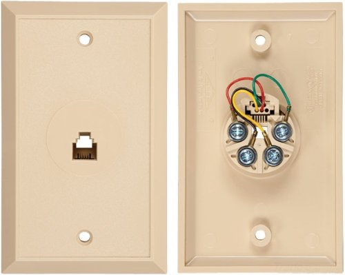 Flush Mount Wall Outlet Jack, 4 Conductor, 6 Position, Plastic, Ivory, Single Gang, 1 (Tel Products Mount Plate)
