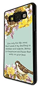 293 - Floral Shabby Chic Birds You only Live once Quote Design For Samsung Galaxy A5 Fashion Trend CASE Back COVER Plastic&Thin Metal