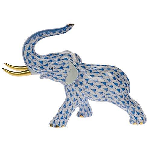 (Herend Elephant Trunk Up Porcelain Figurine Blue)