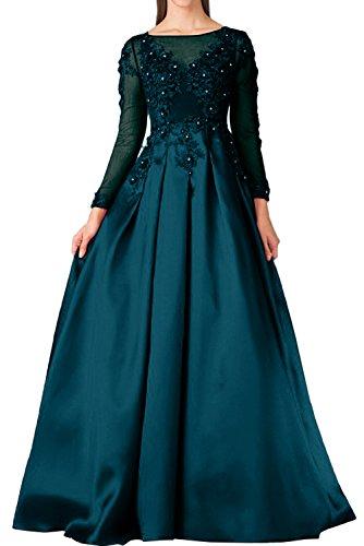 Blaugruen Festkleid Linie A Ballkleider Abendkleider Mit Hochwertig Ivydressing Aermeln Damen Spitze Aq7WTB