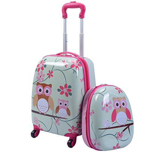 "GYMAX Kids Carry On Luggage Set, 12"" & 16"" 2PCS Kids Suitcase with Adjustable Trolley Rod Height & Backpack Shoulder Strap for Boys and Girls, Gift for Toddlers Children (Owl)"