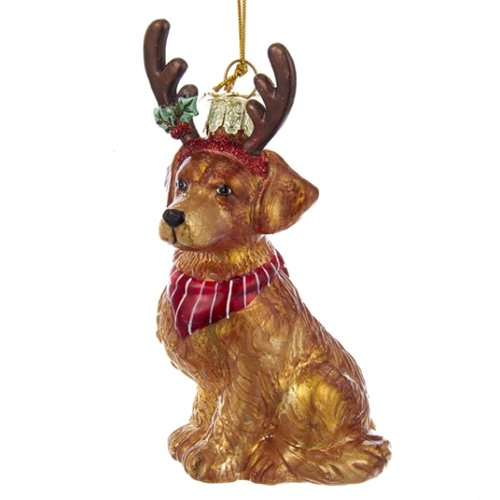 - Noble Gems Golden Retriever with Antlers Glass Ornament