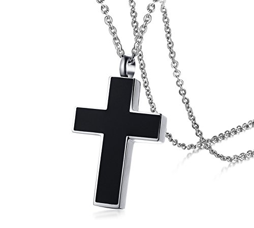 PJ Stainless Steel Unisex Black Plain Christ Cross Necklace Cremation Ashes Memorial Pendant Jewelry Iris Urn