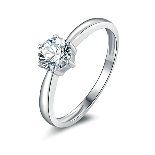 Daesar Silver Plated Rings Womens Engagement Rings Promise Custom Ring 6-Prong CZ Ring Size 7.5 (Tibet Old Inlay)