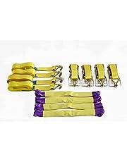 Heavy Duty correas de carraca x 4recuperación rueda correas 4.2M x 50mm 5T (5000kg), color amarillo