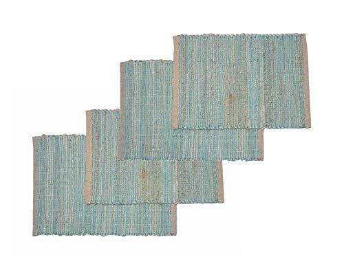 Chardin home Eco-Friendly Jute/Cotton Placemats (Set of 4 mats). Size: 13