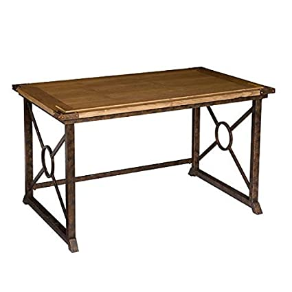 Amazon.com: Wood Desk With Antique Brass Metal Legs   Rectangular Writing  Desk   Weathered Oak: Kitchen U0026 Dining