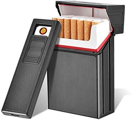 Caso de Cigarrillo con encendedores, leegoal USB Recargable ...