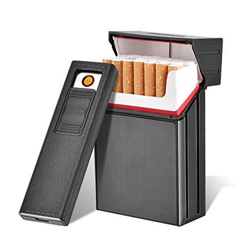 (AUOKER Cigarette Case Box with Electric Lighter, King Size 20PCS Metal USB Separable Rechargeable for Whole Package Cigarettes, Flameless Windproof with USB Cable)