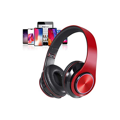 Bluetooth Over Ear Headphones, LED Foldable Stereo Headphones with Built-in Microphone, Light Weight, Wired and Wireless…