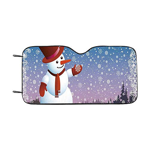 Snowman Durable Car Sunshade,Cartoon Happy Snowman Looking at The Snowflake ICY Winter Scenery Evergreen Woods Decorative for car,55