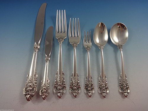 - Grande Baroque by Wallace Sterling Silver Flatware Set For 6 Service 42 Pieces