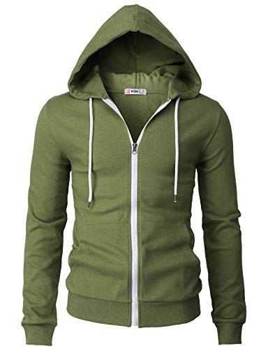H2H Mens Casual Basic Long Sleeve Zip Up Hoodie Jacket OliveGreen US L/Asia XL (CMOHOL048)
