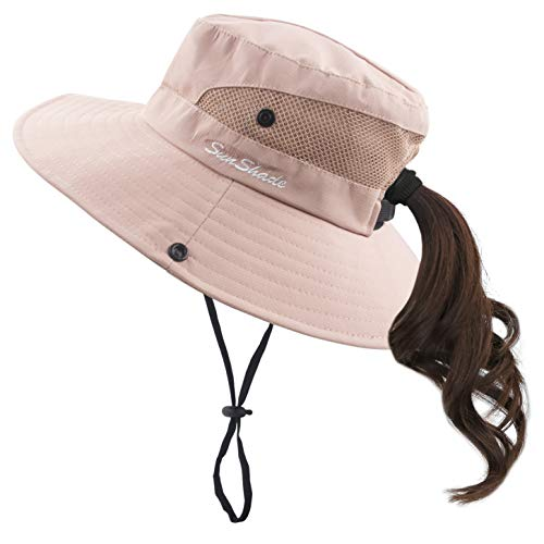 (Muryobao Women Ponytail Summer Sun Hat Wide Brim UV Hats Floppy Bucket Cap for Safari Beach Fishing Gardening Pure Pink)