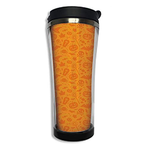 Travel Coffee Mug 3D Printed Portable Vacuum Cup,Insulated Tea Cup Water Bottle Tumblers for Drinking with Lid 14.2oz(420 ml)by,Halloween Decorations,Monochrome Design with Traditional Halloween Theme