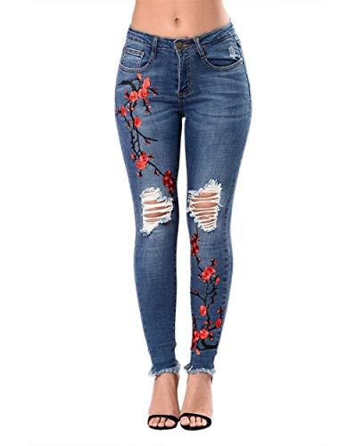 Jeans Con Mujeres Bordado Ropa Las Jeggings Flacos Lápiz Dunkelblau Pantalones Bolsillos Botones Flor Elásticos La Mezclilla De qOwtgEp